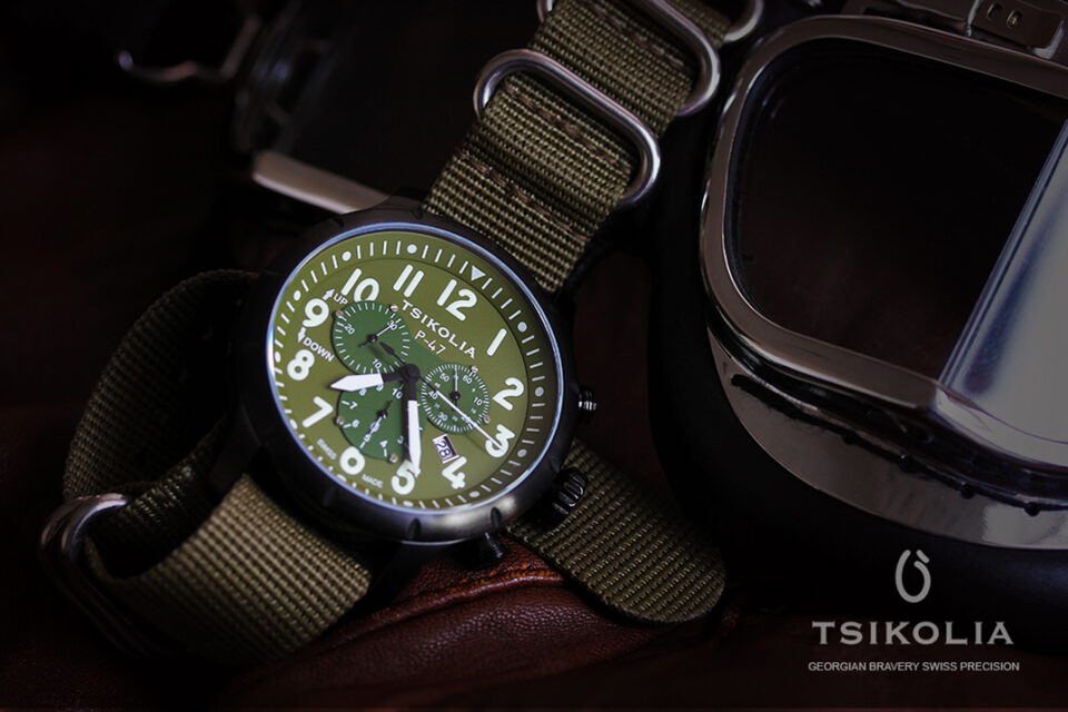 TSIKOLIA P-47-10 BLACK PVD/KHAKI
